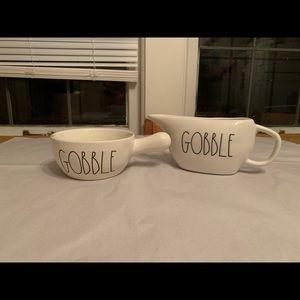 Rae Dunn Gobble Gravy Boat and Handled Bowl